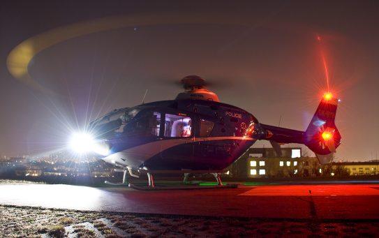 Vzlet letecké záchranky k dopravní nehodě