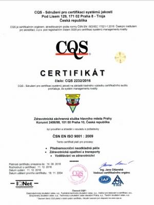 Certifikát ISO ZZS HMP CZ
