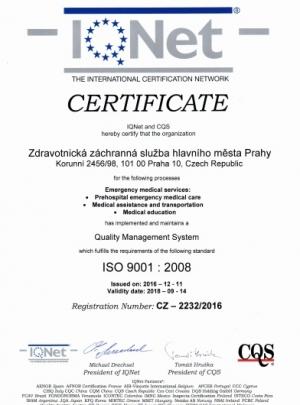 Certificate ISO ZZS HMP IQNet EN
